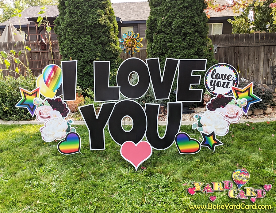 I love you yard card lawn greeting from Boise Yard Card