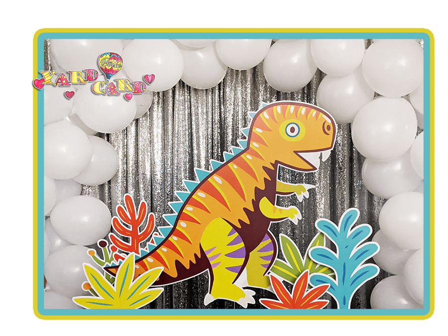 Dinosaur lawn signs for birthday celebrations party rental