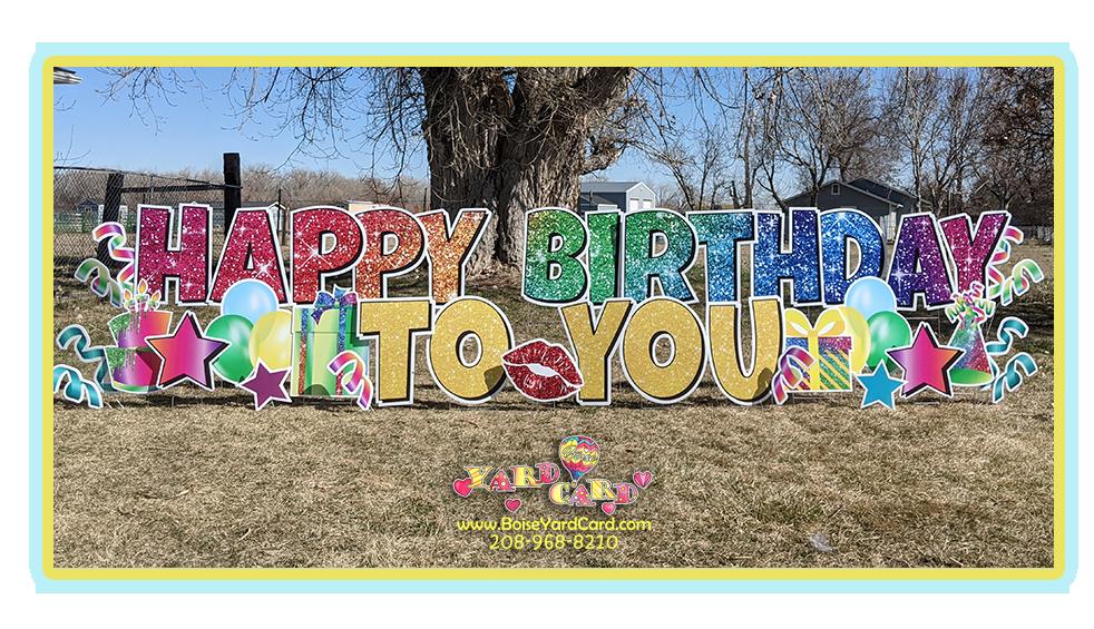 Boise Yard Card Sparkle Rainbow!
